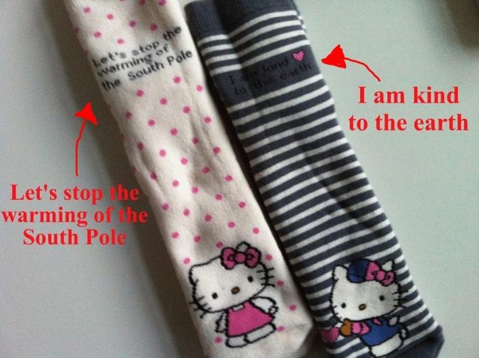 Miljøvernbevisste Hello Kitty-sokker